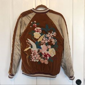 Free People Embroidered Bomber Coat